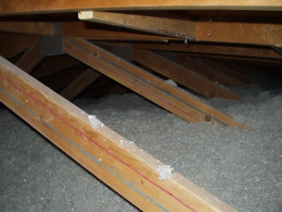 Attic filled with Cellulose Insulation