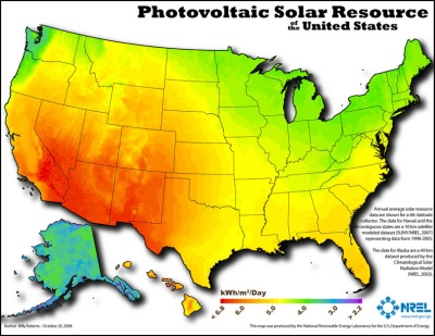 NREL Solar Photovoltaic Resource Map