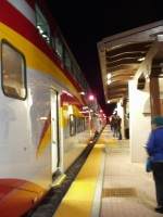 Rail Runner Express Train at the Santa Fe South Capitol Station at night