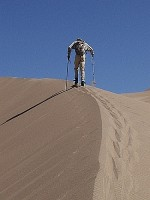 Sand Skiing - David Climbing a Ridge