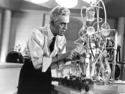 Boris Karloff in the laboratory