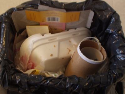 Trash Can, full of disposable packaging