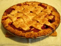 Strawberry Rhubarb Pie with lattice crust